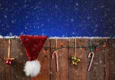 Christmas Fence With Snow Royalty Free Stock Photos