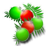 Christmas Ferns in Green and Red - Holiday Ornaments. Green and red round christmas holiday tree ornaments on Ferns with white background - illustration Royalty Free Stock Photos