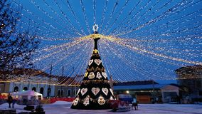 Christmas festival in Alba stock images