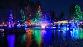 Fountain at Christmas season stock images