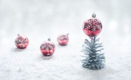 Christmas festival concepts ideas with ornament and silver pine cone. And snow.top view royalty free stock photography