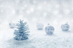 Christmas festival concepts ideas with ornament and silver pine royalty free stock image