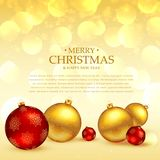 Christmas festival greeting with balls decoration place on golde. N background Stock Images