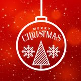 Christmas festival greeting design graphic with hanging ball. And tree illustration Royalty Free Stock Image