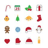 Christmas festival icons set. Christmas festival icons on white set Stock Photography