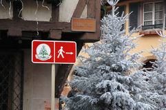 Christmas festival signage. In Colmar town beside white christmas tree at Alsace,France Stock Photography