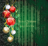 Christmas festive background with balls Stock Photos