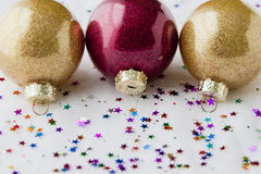 Christmas festive background with baubles Royalty Free Stock Image