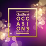 Christmas festive background border. Design with gold stars and glitter effects. Vector illustration Royalty Free Stock Photo