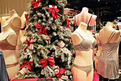 Christmas background decorations in a lingerie store Royalty Free Stock Images