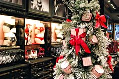 Christmas background decorations in a lingerie store Royalty Free Stock Image
