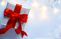 Christmas  festive background with  gift box Royalty Free Stock Photos