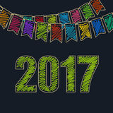 Christmas Festive Background 2017. Merry Christmas and Happy New Year 2017, Christmas Festive Background, Holiday Colorful Colored Bunting Flags and the Green Stock Photos
