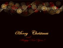Christmas festive background, red and golden on black. Holiday background, banner of snowflakes, golden text Merry Christmas on black background, vector Royalty Free Stock Photos