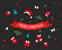 Christmas festive background. Vector illustration. Greeting card with winter holidays elements Royalty Free Stock Images