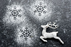 Christmas festive background with white deer Stock Photos