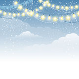 Christmas festive background. Christmas winter background with electric garland and decorations Stock Images