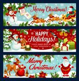 Christmas festive banner of Santa sleigh with gift. Santa Claus, snowman and reindeer sleigh with gift bag, candle, calendar and candy greeting card, adorned Royalty Free Stock Image