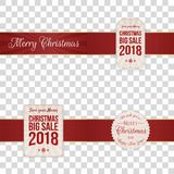 Christmas festive Banners with red Ribbons. Collection. Vector Illustration Royalty Free Stock Photos