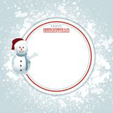 Christmas border copy space and snowman. Christmas Festive Blank Border Copy Space with Snowman in Santa Hat and Decorative Text Royalty Free Stock Images