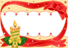 Christmas festive border. Christmas golden candle with festive ribbon over white. Vector illustration EPS AI8, all elements layered and grouped also available Royalty Free Stock Photography