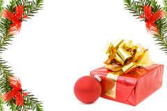 Christmas festive border with gifts royalty free stock images