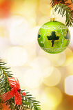 Christmas festive border green bauble Stock Images