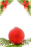 Christmas festive border with red bauble. Festive ribbons and pine tree branch. Isolated on white background. Room for your text Stock Image