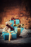 Christmas Festive Boxes on Wooden Background Stock Images