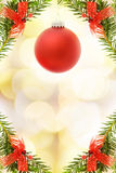 Christmas festive card with red bauble Royalty Free Stock Image