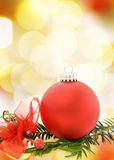 Christmas festive card with red bauble Stock Images