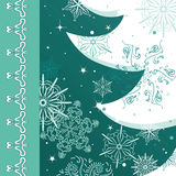 Christmas festive card. With tree and snowflakes royalty free illustration