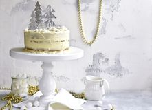 Christmas festive carrot cake with mascarpone filling. royalty free stock photography