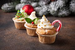 Christmas festive cupcake with different decorations stock image