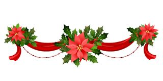 Christmas festive decor. Christmas festive poinsettia frame. Holiday image for design banner, ticket, invitation or card, leaflet and so on Royalty Free Stock Images