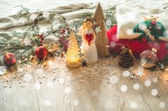 Christmas festive decor still life on wooden background, concept of home comfort and holiday. Christmas festive decor still life on wooden background, Christmas stock photography