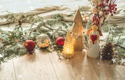 Christmas festive decor still life on wooden background, concept of home comfort and holiday. Christmas festive decor still life on wooden background, Christmas stock images