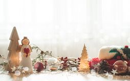 Christmas festive decor still life on wooden background, concept of home comfort and holiday. Christmas festive decor still life on wooden background, Christmas royalty free stock photo