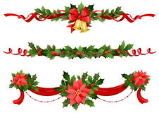 Christmas festive decoration. With ribbons? bells and  poinsettia Royalty Free Stock Photography