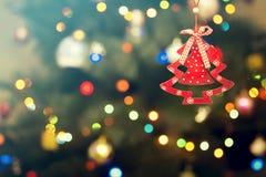 Christmas Festive Decoration. Christmas Decoration on Festive Bokeh Background Royalty Free Stock Photo
