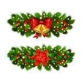 Christmas festive decoration from christmas tree branches. Christmas star, holly and gold bells with red ribbon Stock Image