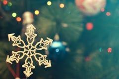 Christmas Festive Decoration. Christmas Snowflake on Festive Bokeh Background Stock Photo