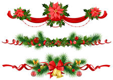 Christmas festive decoration with  spruce  tree. Bow, balls and bells Stock Images