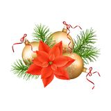 Christmas Festive Decoration. With spruce tree and gold ornament Stock Photos