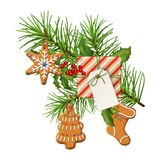 Christmas Festive Decoration. Christmas vector festive decoration. Fir tree branch, gingerbread and gift with blank label isolated on white Royalty Free Stock Photo
