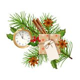 Christmas Festive Decoration. Christmas vector festive decoration with fir tree branch, gold watch and gift box isolated on white. Top view on Xmas gift with Royalty Free Stock Photography