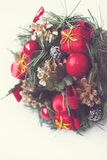 Christmas festive decorations. With wrapped presents and pine cones Stock Image