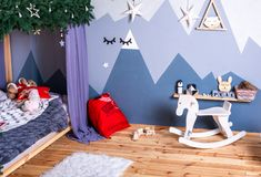 Christmas festive decorations, Christmas home room. children`s room, new year stock photography