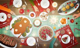 Christmas festive dinner. Delicious traditional holiday meals lying on plates and hands of people eating them. Decorated. Table with tasty dishes, top view Royalty Free Stock Photography
