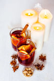 Christmas festive drink, mulled wine with spices Royalty Free Stock Image